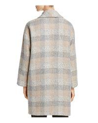 Eileen Fisher - Gray Check Print Wool Tweed Coat - Lyst