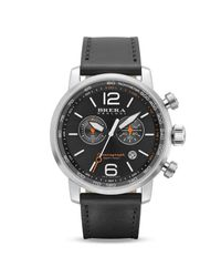 Brera Orologi - Dinamico Stainless Steel Watch With Black Leather Strap, 44mm for Men - Lyst