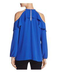 MICHAEL Michael Kors Blue Ruffled Cold-shoulder Top