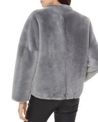 MICHAEL Michael Kors - Gray Cropped Shearling Jacket - Lyst