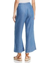 Ella Moss - Blue Cropped Wide-leg Pants - Lyst