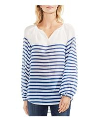 Vince Camuto - Blue Ladder Stripe Peasant Blouse - Lyst