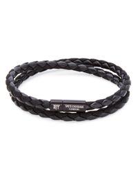 Tateossian - Black Leather Bracelet for Men - Lyst