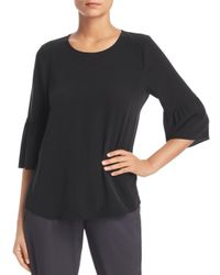 Eileen Fisher - Black Silk Bell-sleeve Top - Lyst