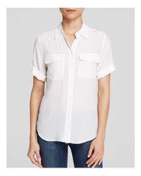 Equipment - White Blouse - Short Sleeve Slim Signature - Lyst