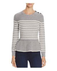 Kate Spade - Gray Stripe Peplum Sweater - Lyst