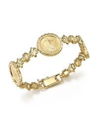 Bloomingdale's - Metallic 14k Yellow Gold Three Coin Bracelet - Lyst