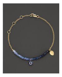 Meira T - Multicolor Diamond, Sapphire And 14k Yellow Gold Evil Eye Bracelet - Lyst