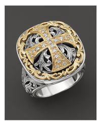 Konstantino - Metallic Sterling Silver And 18k Gold Diamond Maltese Cross Ring - Lyst