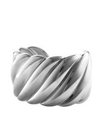 David Yurman - Metallic Sculpted Cable Wide Cuff - Lyst