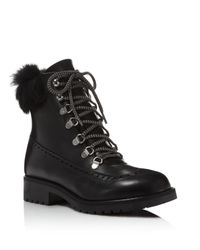 Charles David - Black Rugby Leather And Rabbit Fur Lace Up Booties - Lyst