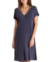 Hanro - Purple Rose Short Sleeve Gown - Lyst