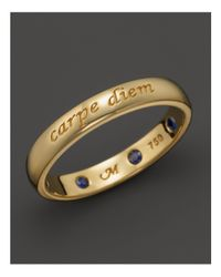 "Monica Rich Kosann - Metallic 18k Yellow Gold ""carpe Diem"" Posey Ring With Sapphires - Lyst"