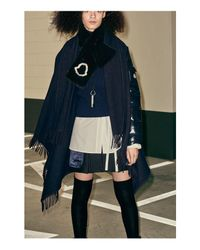 Moncler - Blue Mixed Media Down Cape - Lyst