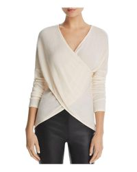 Three Dots - Natural Ribbed Crossover Sweater - Lyst