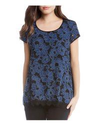 Karen Kane - Blue Floral Denim Embellished Top - Lyst