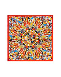 Tory Burch - Orange Psychedelic Geometric Print Silk Scarf - Lyst