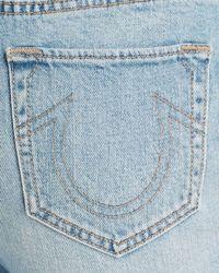 True Religion - Blue Starr High Rise Crop Straight Jeans In Indigo Erosion - Lyst