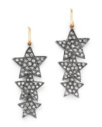 Shebee - Multicolor 14k Yellow Gold & Diamond Triple Star Drop Earrings - Lyst
