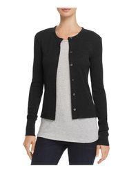 Theory - Black Basic Ribbed Cardigan Sweater - Lyst