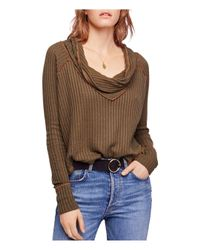 Free People - Brown Wildcat Thermal Sweater - Lyst