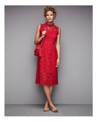 Kate Spade - Red Poppy Lace Midi Dress - Lyst