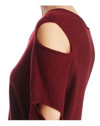 Aqua - Red Cashmere V-neck Slash-arm Sweater - Lyst