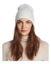 Aqua - White Floral Knit Hat - Lyst