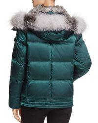Andrew Marc - Green Lillie Rabbit & Fox Fur Trim Down Coat - Lyst