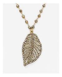 "Roni Blanshay - Metallic Leaf Pendant Necklace, 24"" - Lyst"