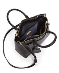 Tory Burch - Black Robinson Small Double Zip Leather Tote - Lyst