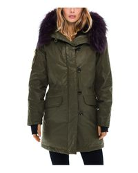 Sam. - Green Double Downtown Fur Trim Down Jacket - Lyst