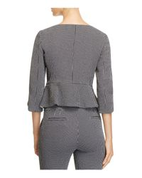 Armani | Black Checkered Peplum Blazer | Lyst