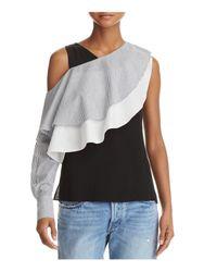 Aqua Black Yigal X Ruffled Cold-shoulder Top