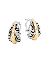 John Hardy - Metallic Classic Chain Hammered 18k Gold And Sterling Silver Triple Buddha Belly Earrings - Lyst