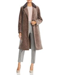 Maximilian - Brown Mink Fur Collar Lamb Shearling Coat - Lyst