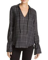 PAIGE - Black Calissa Metallic Plaid Shirt - Lyst