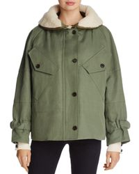 Burberry - Green Pethford Shearling-trimmed Parka - Lyst