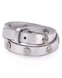Tory Burch - Metallic Double Wrap Logo Stud Bracelet - Lyst