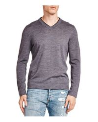 The Kooples - Gray Leather Trim Merino Wool V-neck Sweater for Men - Lyst