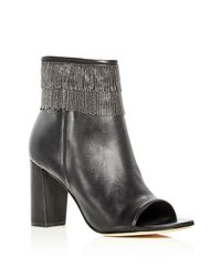 Bernardo | Black Honour Beaded Fringe Open Toe Booties | Lyst