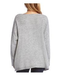 Karen Kane - Gray Floral Embroidered Oversize Sweater - Lyst