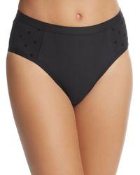 Ella Moss - Black Sheer Dot Cap-sleeve Bikini Top - Lyst