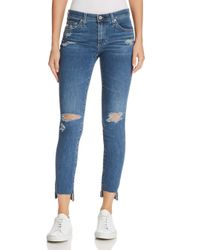 AG Jeans Blue Ankle Legging Jeans In 10 Years Sea Mist Destructed