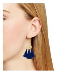 Rebecca Minkoff - Blue Tri-tassel Chandelier Earrings - Lyst