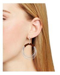 Robert Lee Morris - Metallic Leather Hoop Drop Earrings - Lyst