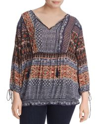 Lucky Brand - Multicolor Scarf Print Peasant Blouse - Lyst