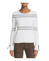 French Connection - White Skye Stitch-detail Sweater - Lyst