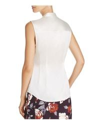 Theory - White Sleeveless Ruched Silk Top - Lyst