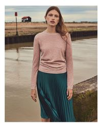 Whistles - Pink Sparkle Open-knit Seam Detail Sweater - Lyst